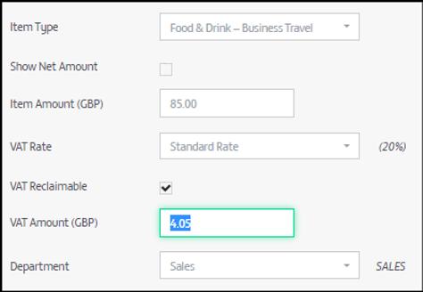 VAT setting Zetadocs Expenses