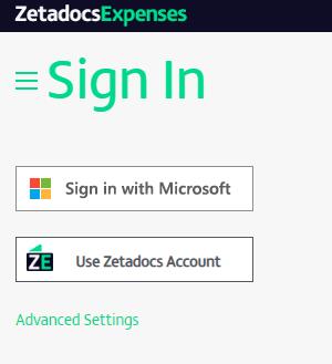 Zetadocs Expenses single sign on