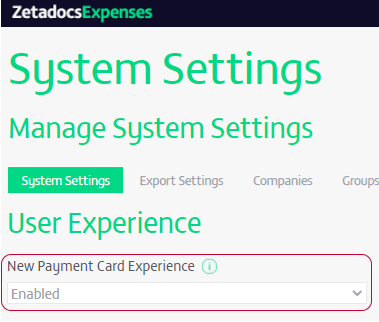 Zetadocs Expenses New Payment Card Experience System Settings