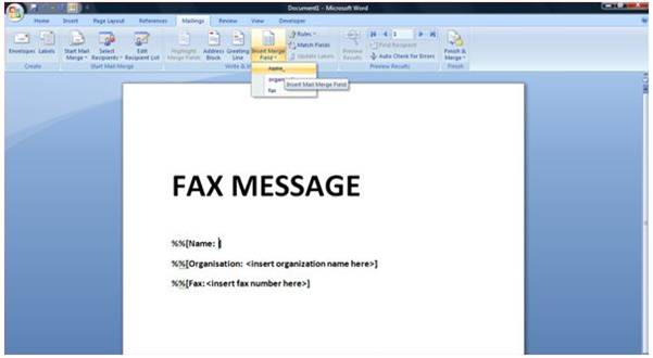 HOWTO Creating A Fax Shot In Microsoft Word Using Mail Merge