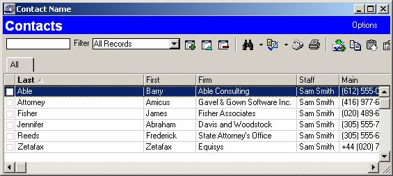 database contact list